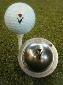 Tin-Cup Golf Ball Marker, tulips, red, green personalized