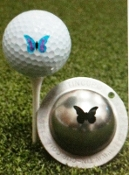 Tin-Cup Golf Ball Marker, cat, stencil, green, black, orange, blue, ultra thin, Sharpie marker, personalized golf ball